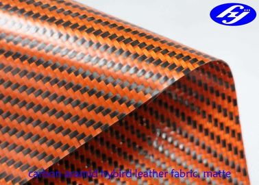 Matte Twill Synthetic Leather Fabric / Orange Carbon Fiber Kevlar Hybrid