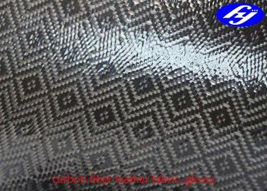 Jacquard Glossy Carbon Fiber Leather Fabric TPU Coated Rhombus Pattern For Wallets