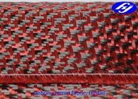 Plane Pattern Woven Aramid Fabric / High Strength Red Carbon Fiber Kevlar Cloth