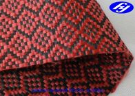 China High Tensile Red Carbon Fiber Kevlar Fabric With Jacquard Sudoku Pattern factory