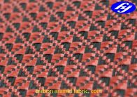 China Jacquard Coin Pattern Carbon Aramid Fabric Black / Red Carbon Aramid Hybrid Fabric company