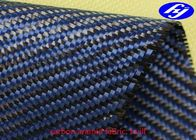 Twill Woven Blue Carbon Aramid Fabric / 2x2 0.28MM Thickness Carbon Kevlar Fabric