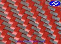 China Black / Red 2x2 Twill Carbon Aramid Fabric 200gsm Red Kevlar Para Aramid Fabric factory