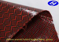 China Glossy Red Polyurethane Leather Fabric / Carbon Kevlar Hybrid Fabric 0.63MM Thickness company