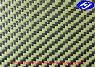 China High Tensile Faux Leather Fabric / Glossy Twill Carbon Aramid Hybrid Fabric factory