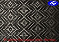 Rhombus Pattern 3K Twill Weave Carbon Fiber / Decoration Black Jacquard Fabric