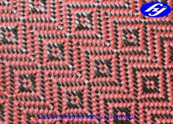 Jacquard Woven Carbon Aramid Fabric / Red Carbon Fiber Cloth