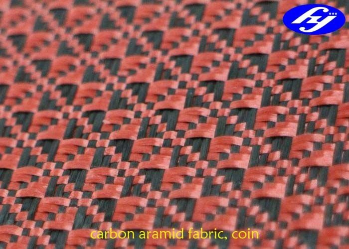 Jacquard Coin Pattern Carbon Aramid Fabric Black / Red Carbon Aramid Hybrid Fabric