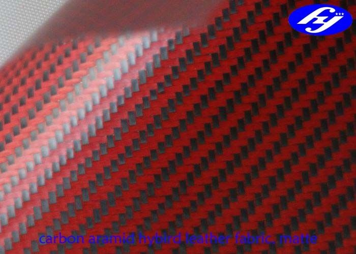 Matte Polyurethane Leather Fabric Twill Red Kevlar Carbon