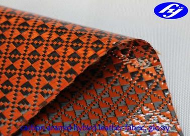 Orange Polyurethane Leather Fabric Glossy Carbon Kevlar Hybrid For Sports Equipments