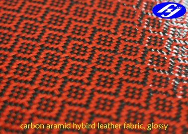 Glossy Red Polyurethane Leather Fabric / Carbon Kevlar Hybrid Fabric 0.63MM Thickness