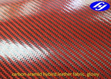 Glossy Twill Polyurethane Leather Fabric / 2 x 2 Twill Carbon Kevlar Hybrid Fabric