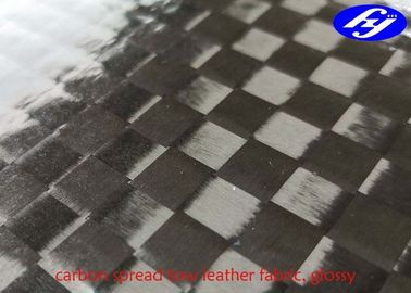 12K Spread Tow Carbon Fiber Glossy Polyurethane Leather Fabric