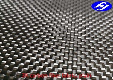 Plain Woven 3K Carbon Fiber Fabric / Black Kevlar Carbon Fiber For Decoration